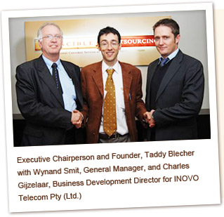 Executive Chairperson and Founder, Taddy Belcher with Wynand Smit, General Manager, and Charles Gijzelaar, Business Development Director for INOVO Telecom Pty (Ltd.)